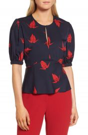 Lewit Puffed Sleeve Print Silk Top at Nordstrom