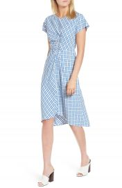 Lewit Ruched Check Midi Dress at Nordstrom