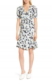 Lewit Ruffle Front A-Line Stretch Silk Dress at Nordstrom