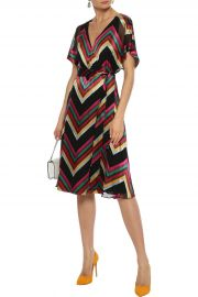 Lexa wrap-effect striped burnout satin dress at The Outnet