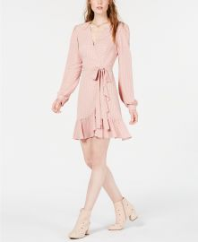 Leyden Ruffled Wrap Dress in Blush Houndstooth at Macys