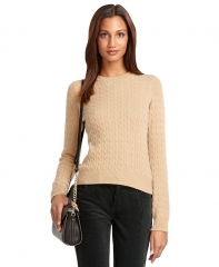 Light Camel Cable Knit Sweater at Brooks Brothers