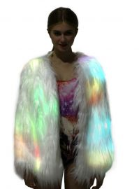 Light Up Coat Fur Led Jacket for Women Glow White Furry Faux Fur Burning Man Costumes Rave Clothes at Amazon