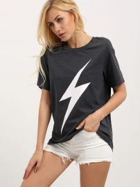 Lightning Bolt Print Tee at Shein