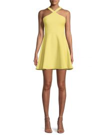 Likely Ashland Halter Sleeveless Fit-and-Flare Short Dress at Neiman Marcus