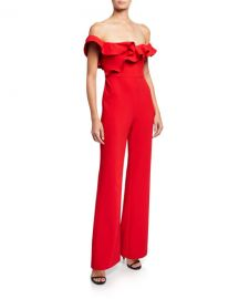 Likely Miller Ruffle-Trim Off-the-Shoulder Jumpsuit at Neiman Marcus