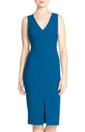 Likely Park V-Neck Sheath Midi Dress in Blue at Nordstrom