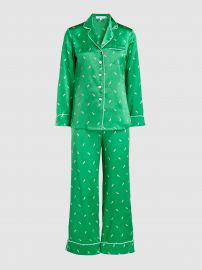Lila Aya Feather Print Silk Pyjama Set at The Modist