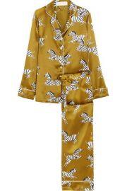 Lila Mona printed silk-satin pajama set by Olivia Von Halle at Net A Porter