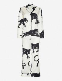 Lila Panther-Print Silk Pyjamas by Olivia Von Halle at Selfridges