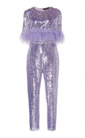 Lili Feather-Trimmed Sequined Jumpsuit by Jenny Packham at Moda Operandi