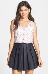 Lily White Pleat Faux Leather Skirt at Nordstrom