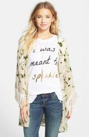Lily White Velvet Detail Fringe Kimono Jacket at Nordstrom