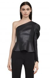 Lilyan Faux Leather Peplum Top at Bcbg