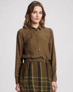 Lily's olive green silk blouse by Burberry Brit at Neiman Marcus