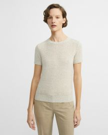 Linen-Cashmere Basic Tee at Theory