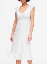 Linen-Cotton Button-Front Midi Dress at Banana Republic