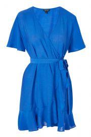Linen Ruffle Wrap Dress at Topshop