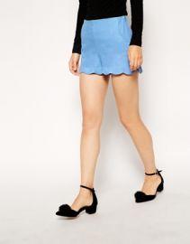 Linen Scalloped Shorts at Asos