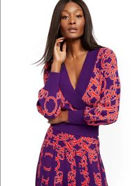Link-Print Wrap Sweater - 7th Avenue at NY&C