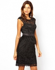 Wornontv Caitlin S Black Lace Dress With Feather Waist On
