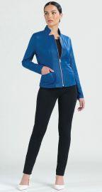Liquid Leather Slit Pocket Jacket - Cobalt at Clara Sunwoo