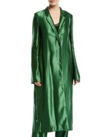 Liquid Satin Single-Breasted Long Coat at Bergdorf Goodman