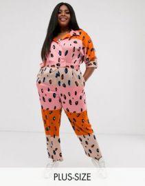 Liquorish Plus jumpsuit with belt in contrasting orange leopard print   ASOS at Asos