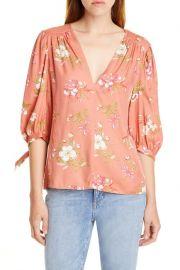 Lita Floral Tie Sleeve Silk Blend Blouse at Nordstrom Rack