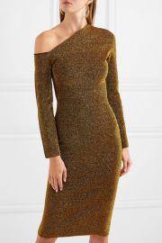 Liva cold-shoulder stretch-Lurex dress at Net A Porter