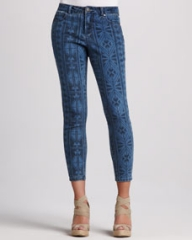 Liverpool Abby-Skinny Aztec-Print Cropped Jeans at Neiman Marcus