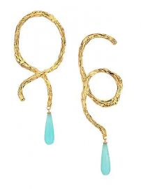 Lizzie Fortunato - Cursive 18K Goldplated  amp  Turquoise Drop Earrings at Saks Fifth Avenue