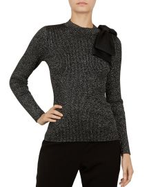 Lizziia Bow-Detail Metallic Sweater at Bloomingdales