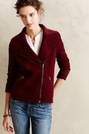 Loden Jacquard Moto Jacket in red at Anthropologie