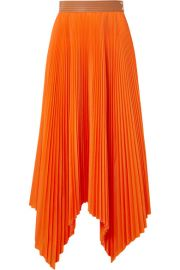 Loewe - Asymmetric leather-trimmed pleated poplin midi skirt at Net A Porter