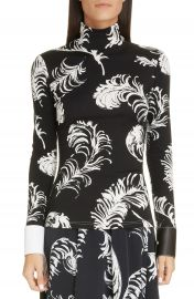 Loewe Leather Cuff Feather Print Top   Nordstrom at Nordstrom