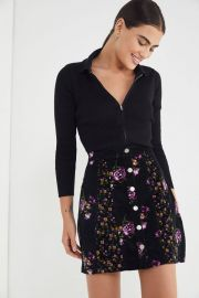 Logan Floral Button-Front Skirt at Urban Outfitters