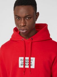 Logo Print Cotton Hoodie in Bright Red at Burberry