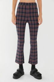 Lola Plaid Kick Flare Pant in Blue Multi at Urban Outfitters