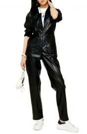 Long Sleeve Straight Leg Faux Leather Jumpsuit at Nordstrom