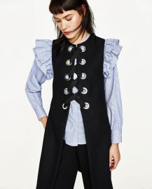 Long  waistcoat with Metallic Details at Zara