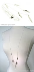 Long 5 Spike Sterling Silver Necklace at Arte Designs