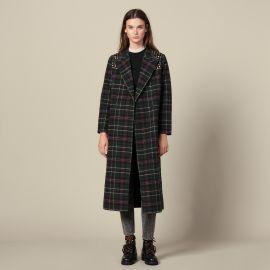 Long Coat with Rhinestone Shoulders at Sandro