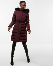 Long Down Belted Smocked Puffer Jacket at Express