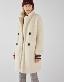 Long Faux Shearling Double Breasted Coat at Bershka
