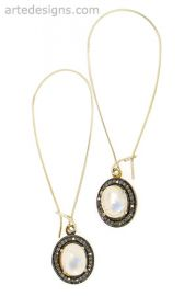 Long Moonstone and Pave Diamond Earrings at Arte Designs