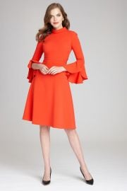 Long Ruffle Sleeve Mock Neck Crepe Dress by Teri Jon by Rickie Freeman at Teri Jon