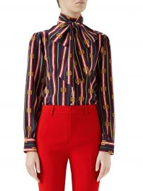 Long-Sleeve Chain-Tie Neck Silk Blouse at Saks Fifth Avenue