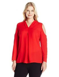 Long Sleeve Cold-Shoulder Invert Pleat V-Neck Blouse by Vince Camuto at Amazon