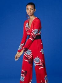 Long-Sleeve Cross Over Jumpsuit at DvF